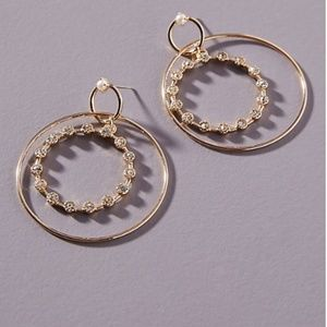 Anthropologie Kate Pearl Hoop Earrings NWT